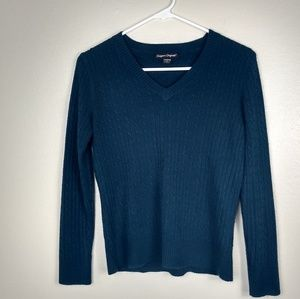 Designers Originals Cable Knit V-Neck Blue Sweater